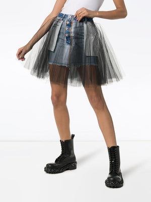 UNRAVEL PROJECT WOMEN MINI STONE DENIM TULLE SKIRT