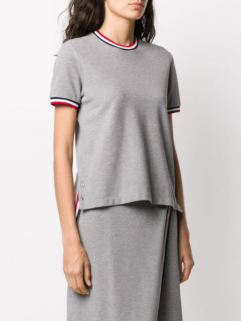 THOM BROWNE WOMEN SHORT SLEEVE TEE WITH RWB RIB TRIMS IN CLASSIC PIQUE