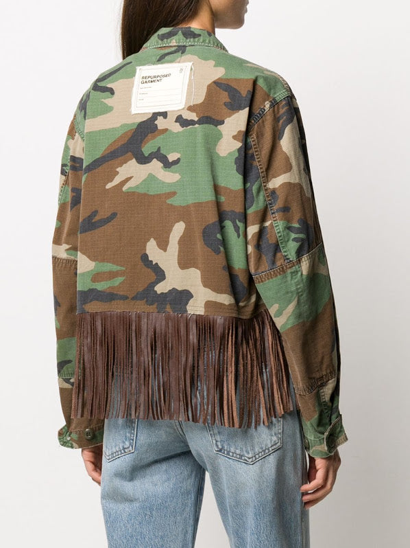R13 WOMEN CROPPED ABU JACKET W/FRINGE