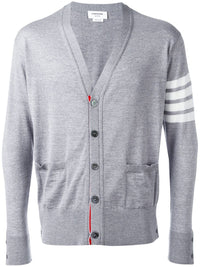 THOM BROWNE MEN CLASSIC V-NECK CARDIGAN IN FINE MERINO WOOL