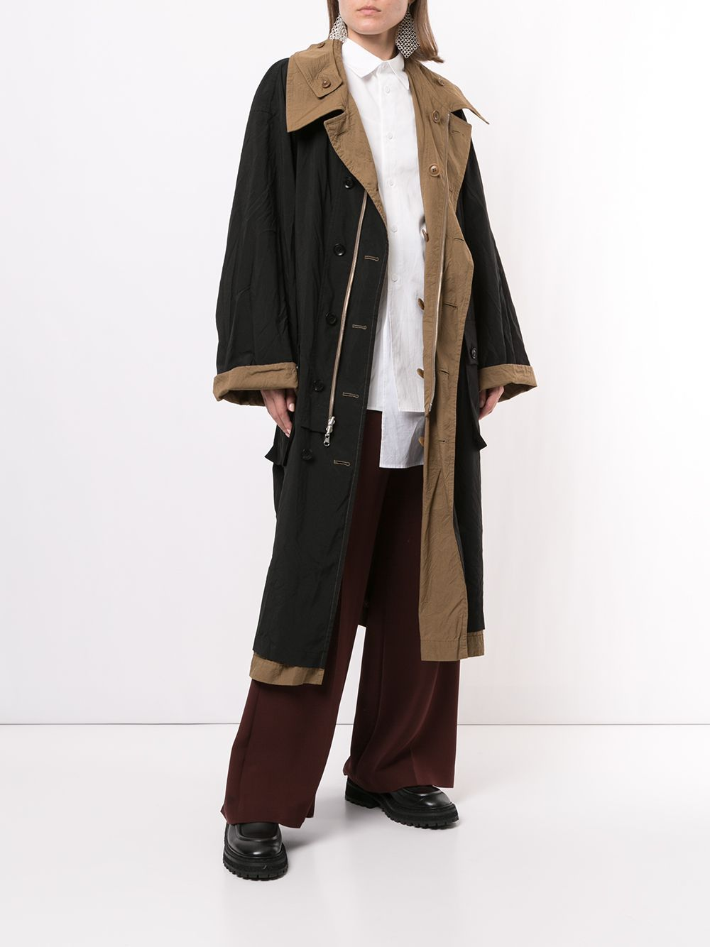 Y'S WOMEN BROAD WRINKLE GARMENT DYED REVERSIBLE COAT