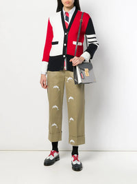 THOM BROWNE WOMEN CLASSIC LONG SLEEVE SHIRT W/ TROMPE L'OEIL NECKTIE IN UNVERSITY STRIPE OXFORD