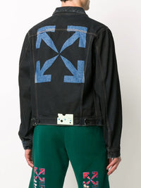 OFF-WHITE MEN STENCIL SLIM DENIM JACKET