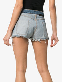 UNRAVEL PROJECT WOMEN STONE WASH DENIM REVERSED SHORTS