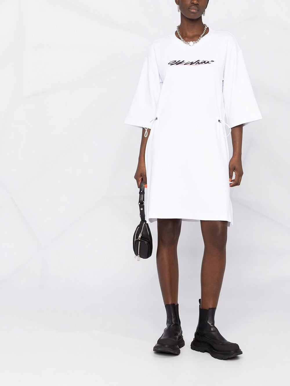 OFF-WHITE WOMEN NEW SCRIPT LOGO COULISSE DRESS