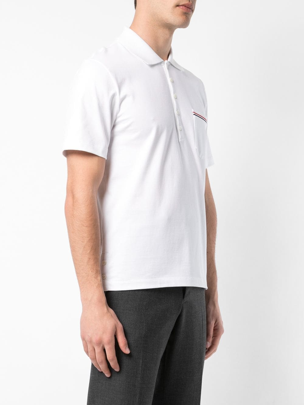 THOM BROWNE MEN SS POCKET POLO IN MEDIUM WEIGHT JERSEY WITH RWB TIPPING STRIPE