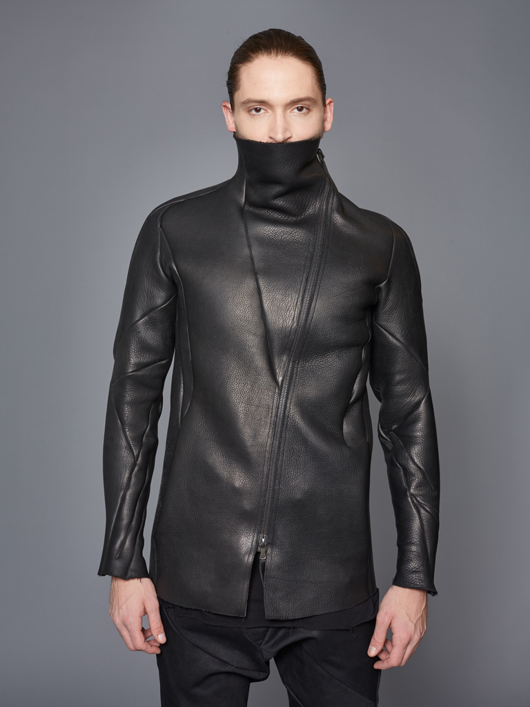 LEON EMANUEL BLANCK DISTORTION STRAIGHT LEATHER JACKET