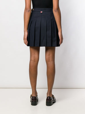 THOM BROWNE WOMEN DROPPED BACK MINI PLEATED SKIRT IN SUPER 120'S TWILL