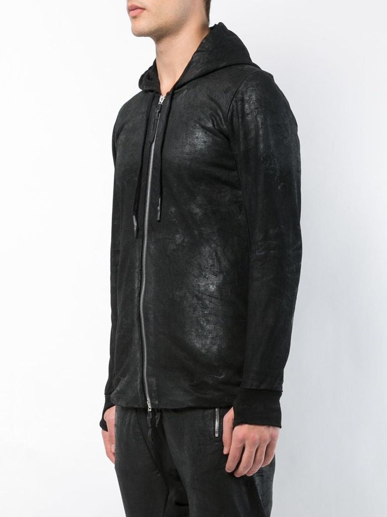 11 BY BORIS BIDJAN SABERI MEN WAXED ZIPPED HOODIE