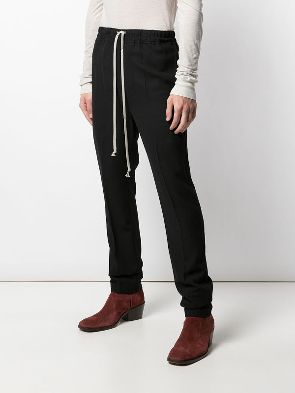 RICK OWENS MEN DRAWSTING SLIM ASTAIRED LONG PANTS