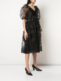 SIMONE ROCHA WOMEN V-NECK FRILL DOUBLE BITE DRESS