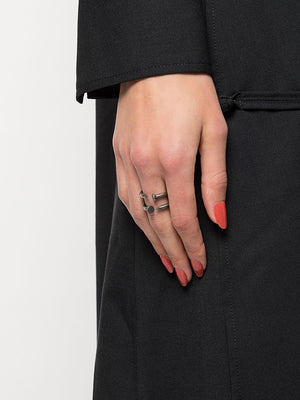 GUIDI DOUBLE NAILS SILVER RING