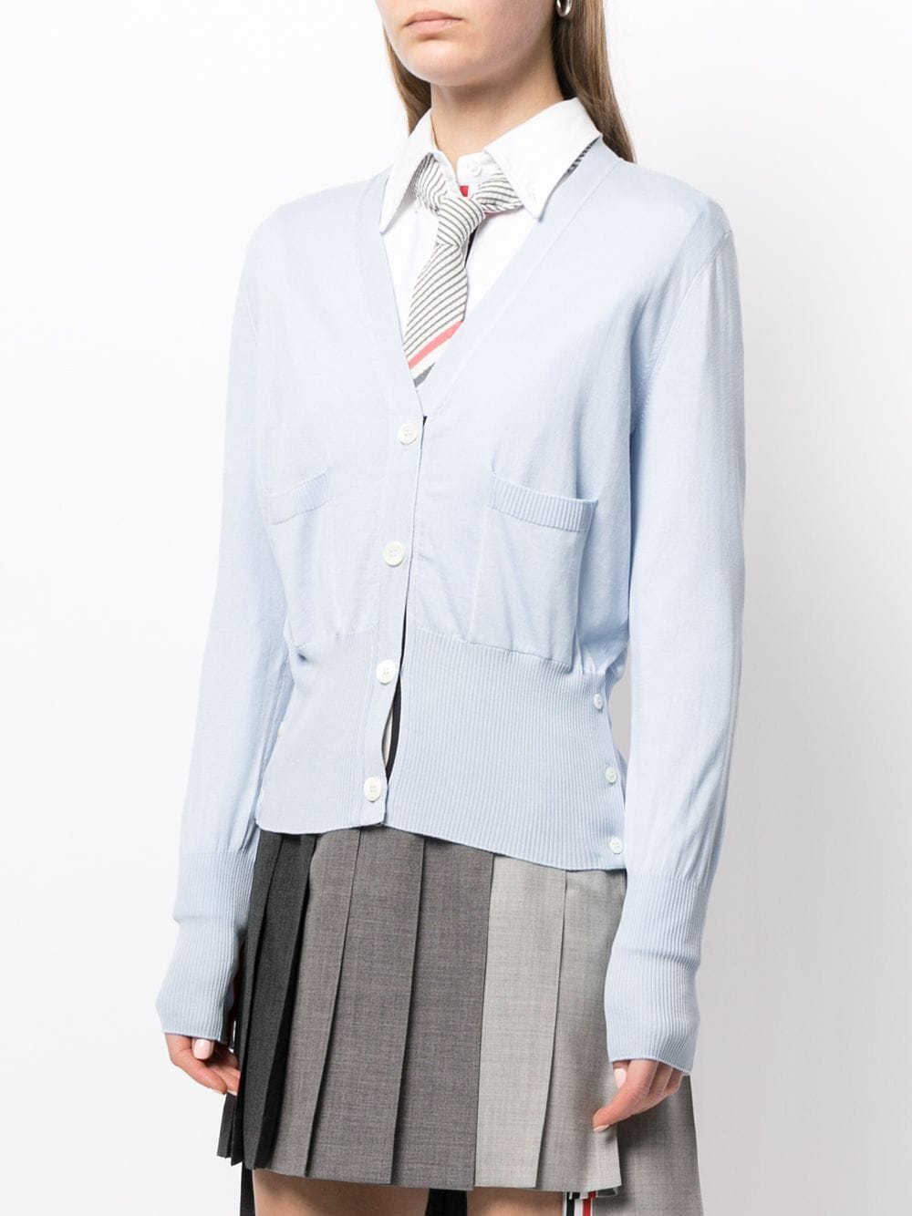 THOM BROWNE WOMEN RELAXED FIT V NECK CARDIGAN IN SILK/ COTTON BLEND W/ CB RWB INTARSIA STRIPE