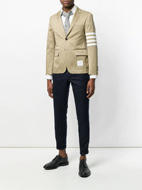 THOM BROWNE MEN UNCONSTRUCTED CLASSIC SB SPORT COAT WITH SEAMED IN 4 BAR STRIPE IN COTTON TWILL
