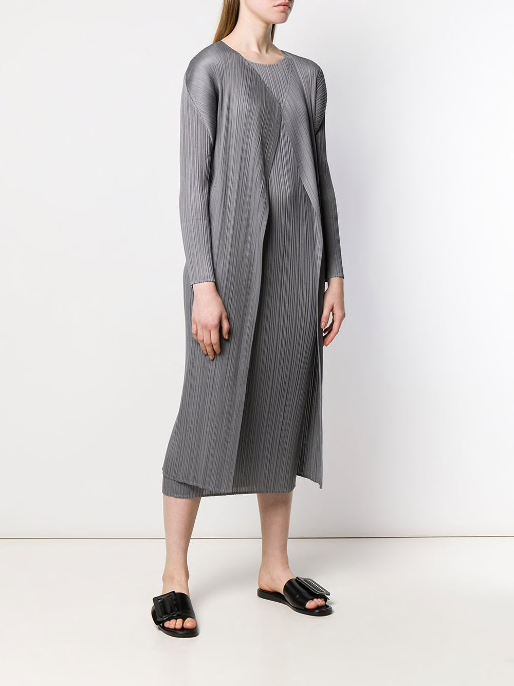 PLEATS PLEASE ISSEY MIYAKE WOMEN PLEATED LONG CARDIGAN