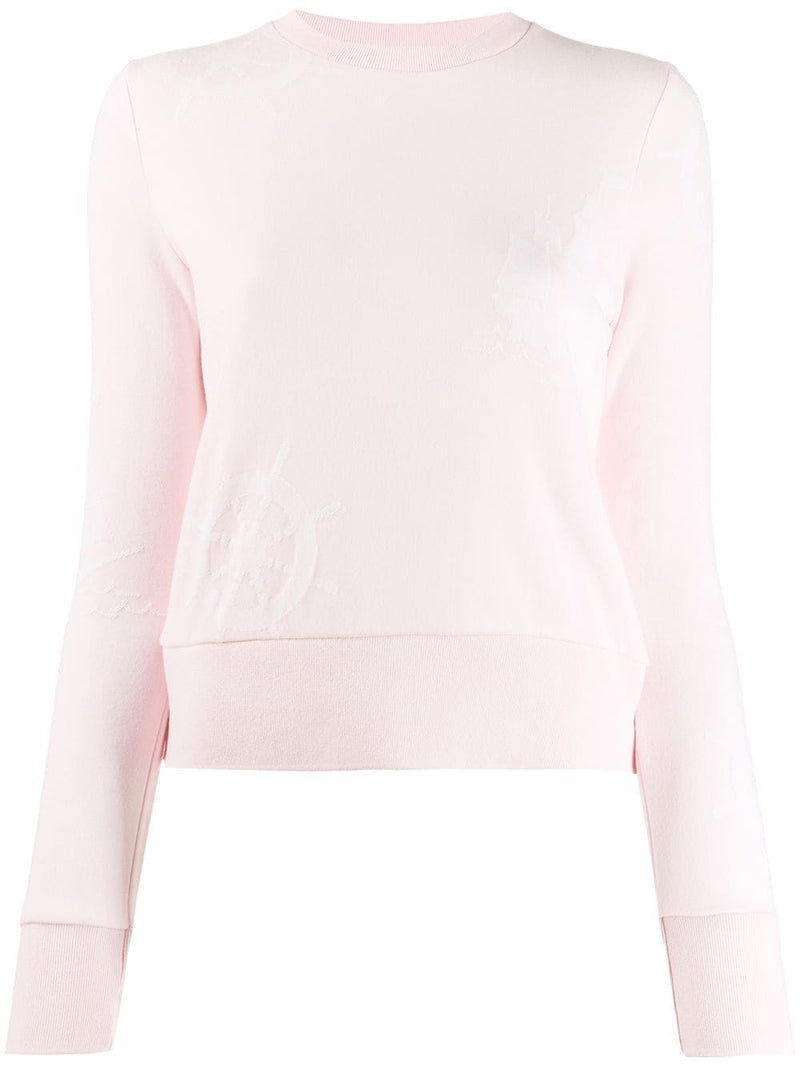 THOM BROWNE WOMEN CREW NECK SWEATSHIRT IN LIGHT WEIGHT LOOPBACK WITH WHEEL AND BOAT JACQUARD