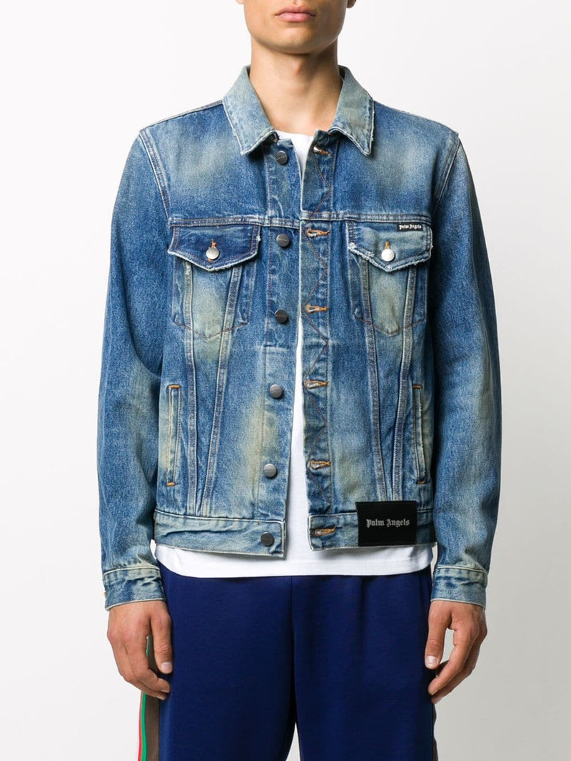 PALM ANGELS MEN COLLEGE EAGLE DENIM CABAN