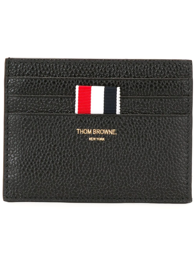 THOM BROWNE UNISEX CARD HOLDER W/ NOTE COMPARTMENT IN PEBBLE GRAIN