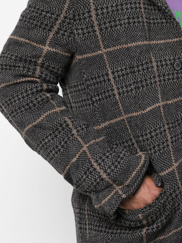 UNDERCOVER MEN WOOL CHECK COAT