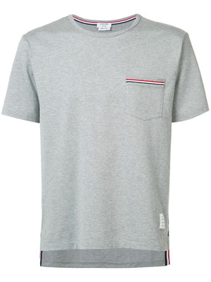 THOM BROWNE MEN SS POCKET TEE IN MEDIUM WEIGHT JERSEY COTTON