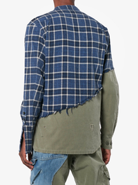 GREG LAUREN MEN 50/50 BLUE MOON FLANNEL/ARMY JUNGLE STUDIO SHIRT