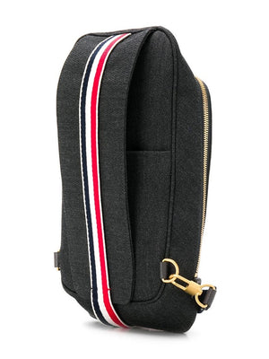 THOM BROWNE MEN BUM BAG CROSSBODY IN SHINY TBNY PAPER LABEL PRINTED CAVALRY TWILL