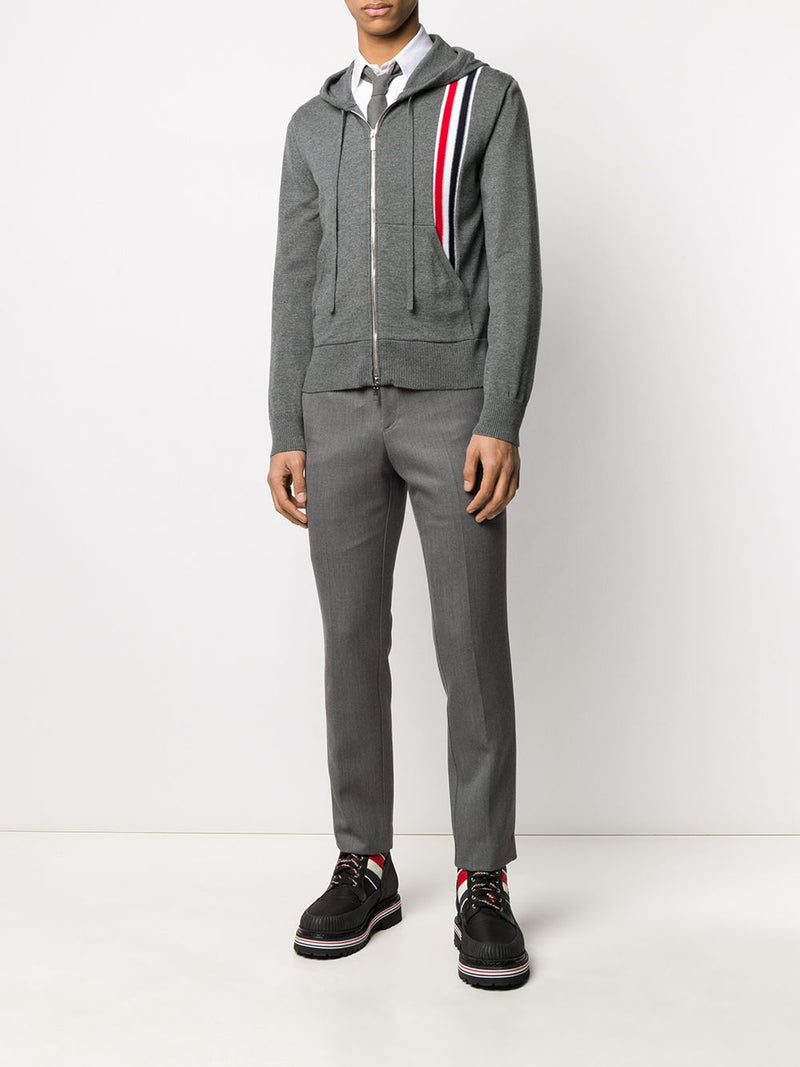 THOM BROWNE MEN JERSEY STITCH RELAXED FIT ZIP UP HOODIE W/ RWB INTARSIA STRIPE IN FINE MERINO WOOL