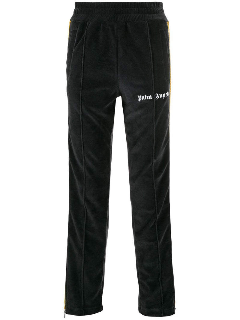 PALM ANGELS MEN CHENILLE PANTS BLACK WHITE