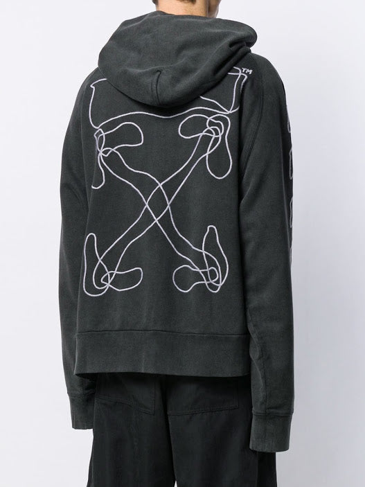 OFF WHITE MEN ABSTRACT ARROWS DOUBLE ZIP HOODIE