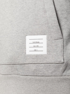 THOM BROWNE MEN HOODIE PULLOVER WITH CENTER BACK RWB STRIPE IN CLASSIC LOOPBACK