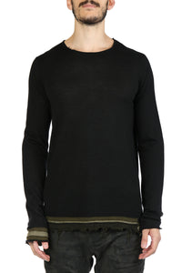 ZIGGY CHEN MEN CONTRAST EDGE CASHMERE  SWEATER
