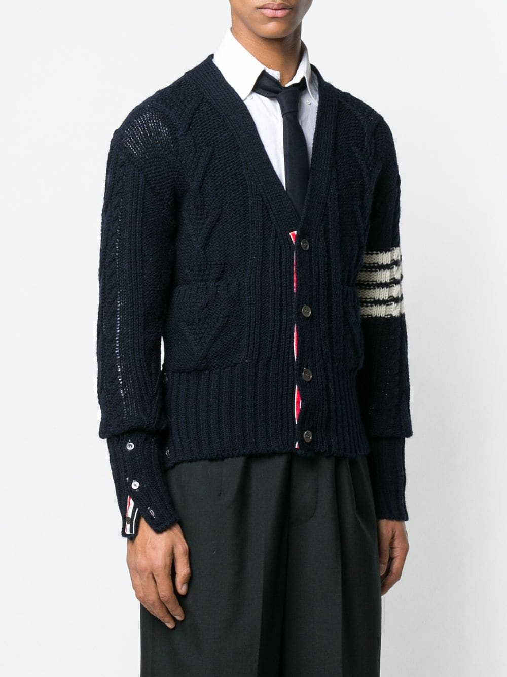 THOM BROWNE MEN ARAN CABLE V NECK CARDIGAN IN DONEGAL WITH 4 BAR STRIPE