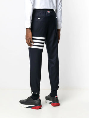 THOM BROWNE MEN SNAP FRONT ELASTIC TRACK TROUSER IN SUPER 120'S TWILL