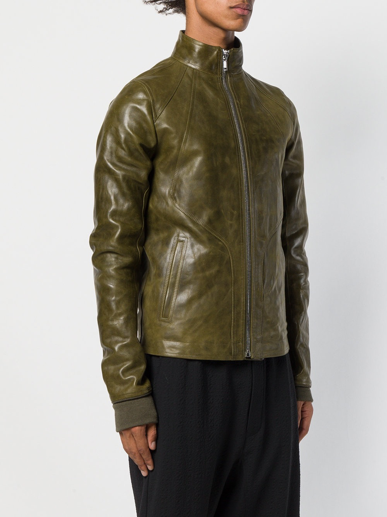 RICK OWENS MEN INTARSIA HIGH NECK HORSE LEATHER JACKET