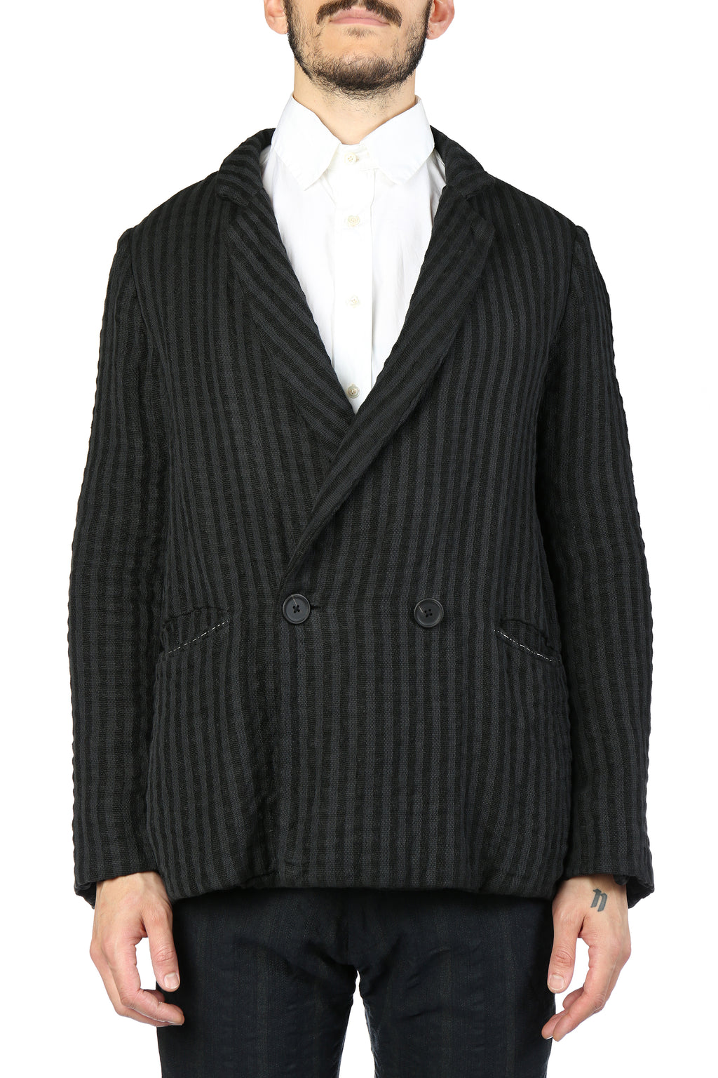 GEOFFREY B SMALL MEN HANDMADE  RELAX FIT DOUBLE BREASTED NOTCH LAPEL JACKET WITH PATCH POCKETS