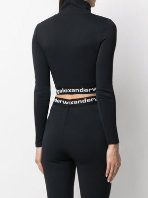 T BY ALEXANDER WANG WOMEN TEXTURED DOUBLE JERSEY LONG SLEEVE CROPPED TURTLENECK WITH LOGO ELASTIC AT HEM