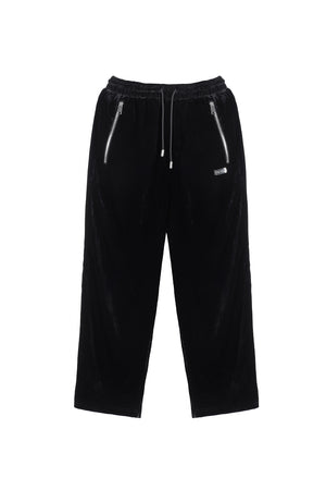 TEAM WANG DRAWSTRING VELVET STRAIGHT PANT
