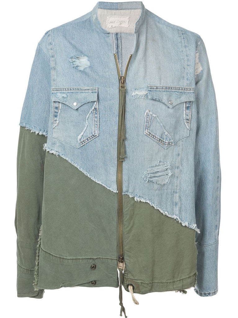 GREG LAUREN MEN VINTAGE DENIM / ARMY TENT ZIP FRONT STUDIO SHIRT