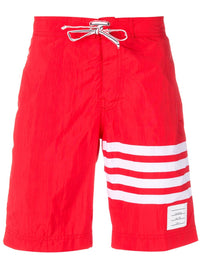 THOM BROWNE MEN CLASSCI BOARD SHORT IN SOLID SWIM TECH W/ 4 BAR PRINT