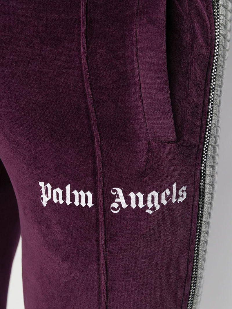 PALM ANGELS MEN CHENILLE TRACK PANTS PURPLE WHITE
