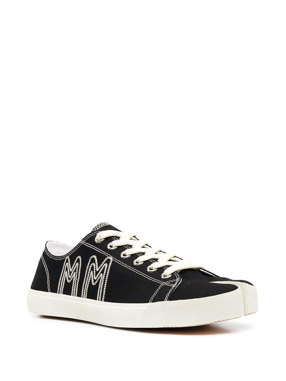 MARGIELA MEN MM LOGO EMBROIDERY CANVAS TABI SNEAKERS