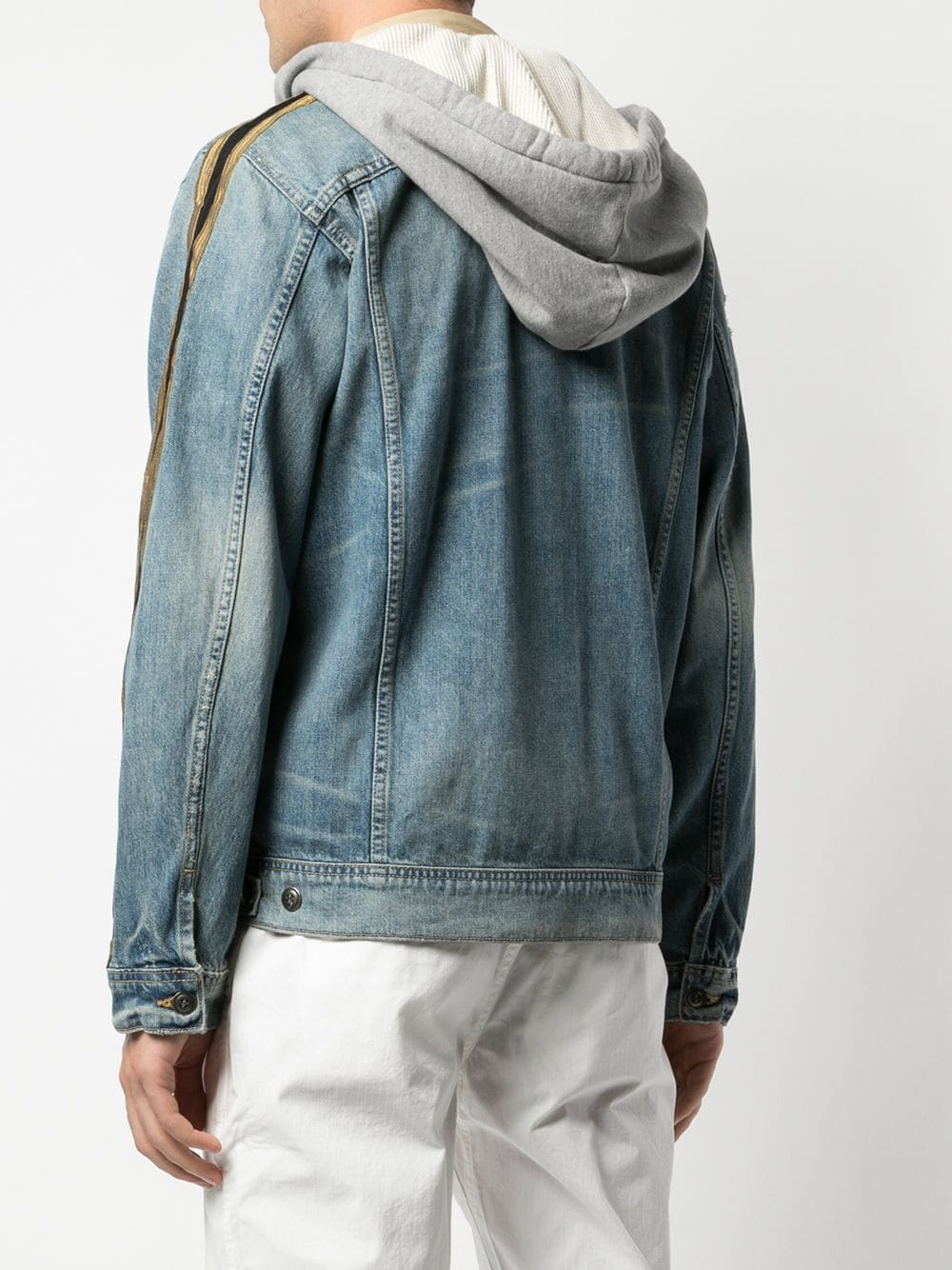 GREG LAUREN MEN DENIM ROYAL HOODED TRUCKER
