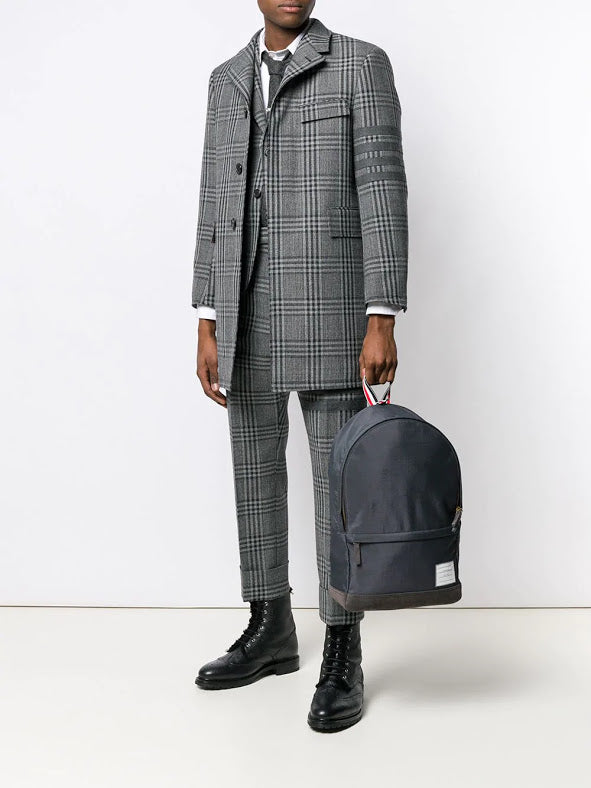THOM BROWNE MEN CLASSIC BACKSTRAP TROUSER WITH SEAMED IN 4 BAR IN PRINCE OF WALES THORNPROOF