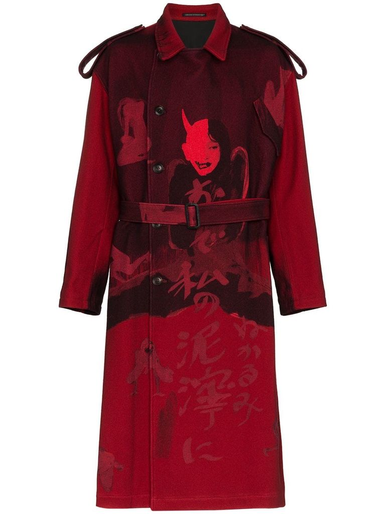 YOHJI YAMAMOTO POUR HOMME MEN PRINTED FLANNEL TRENCH