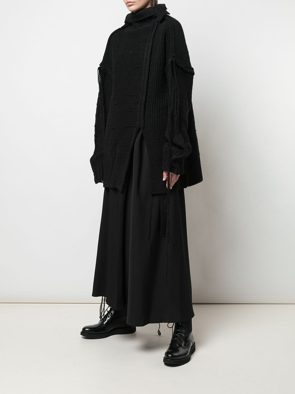 YOHJI YAMAMOTO WOMEN LOOSE YARN HIGH NECK SWEATER