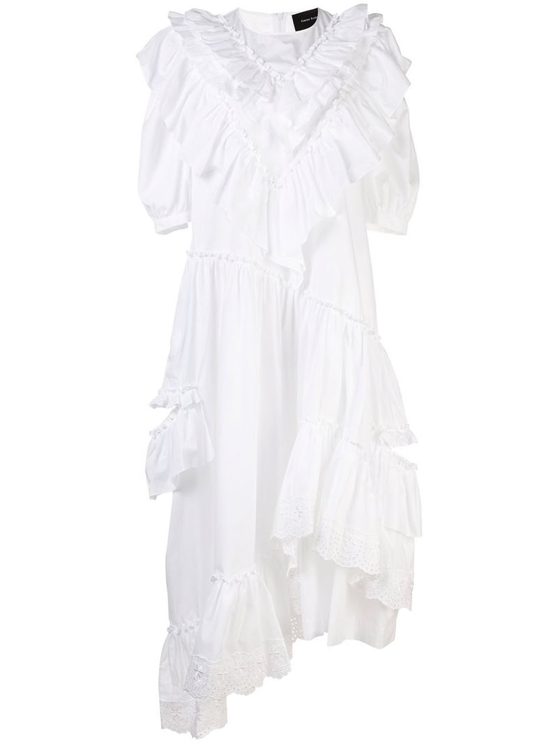 SIMONE ROCHA WOMEN ASYMMETRIC FRILL DOUBLE BITE DRESS