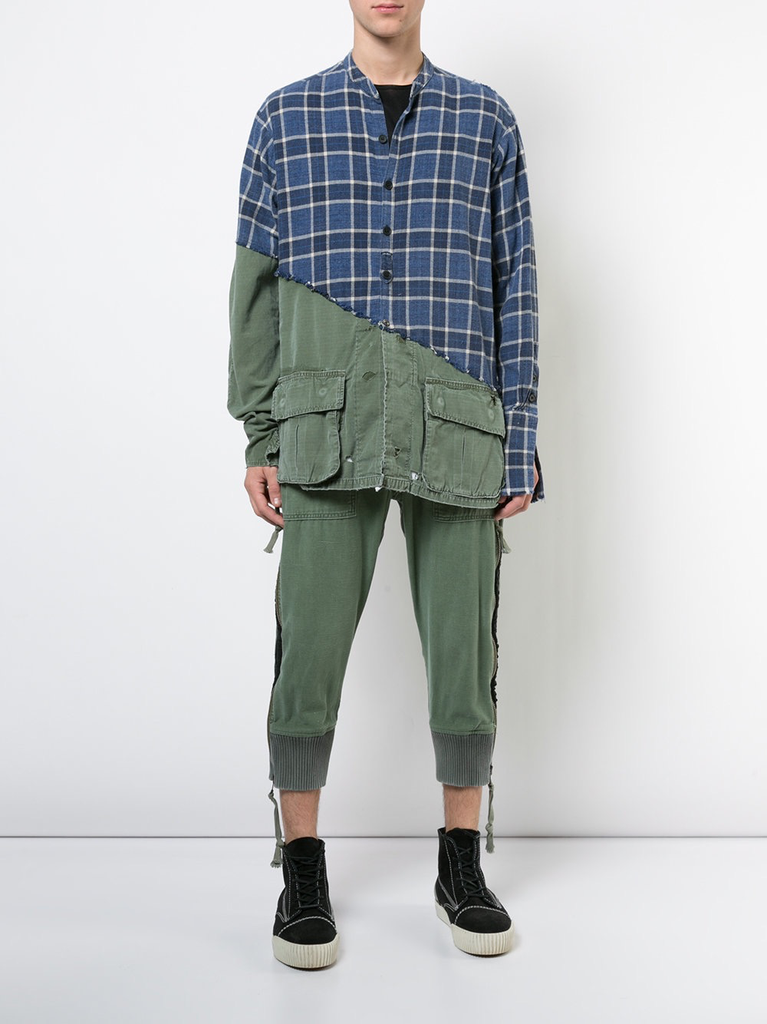 GREG LAUREN MEN ARMY TUX BAKER ZIPPER LOUNGE PANTS