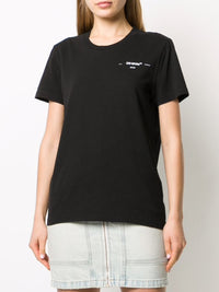 OFF-WHITE WOMEN CORALS PRINT CASUAL TEE BLACK WHITE