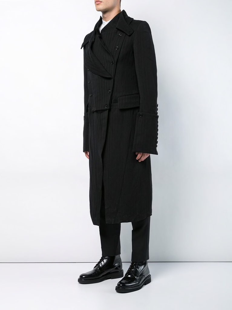 ANN DEMEULEMEESTER MEN BUTTON DETAIL DOUBLE LAYER COAT