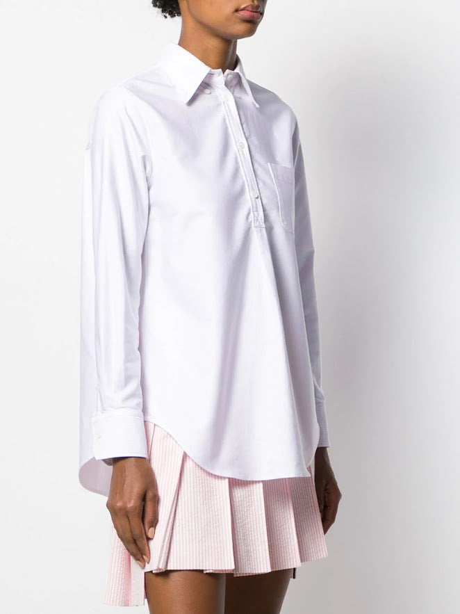 THOM BROWNE WOMEN PLEAT BACK SHIRT WITH GG PLACKET IN UNIVERSITY STRIPE OXFORD